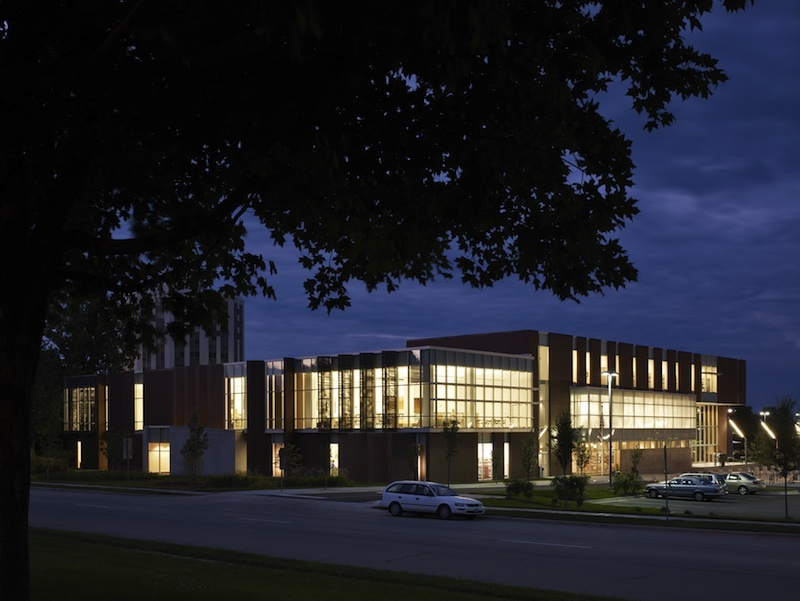 Champaign Public Library at night