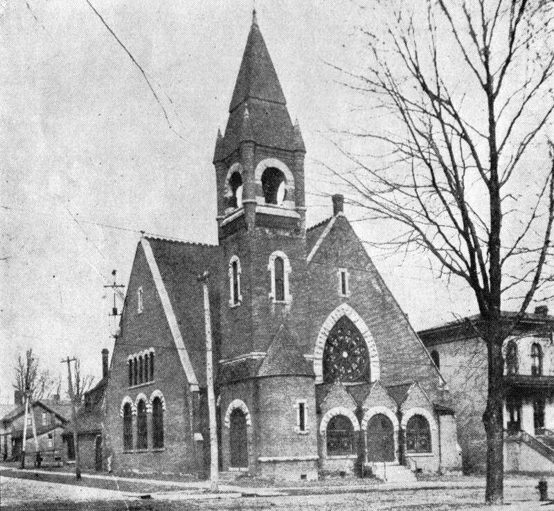 The brick First United Methodist Church the preceded the current stone structure, ca. 1889
