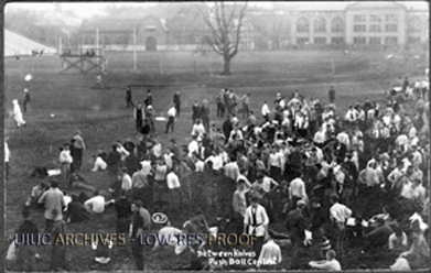Competitors hang out between halves at the Push Ball competition, 1909