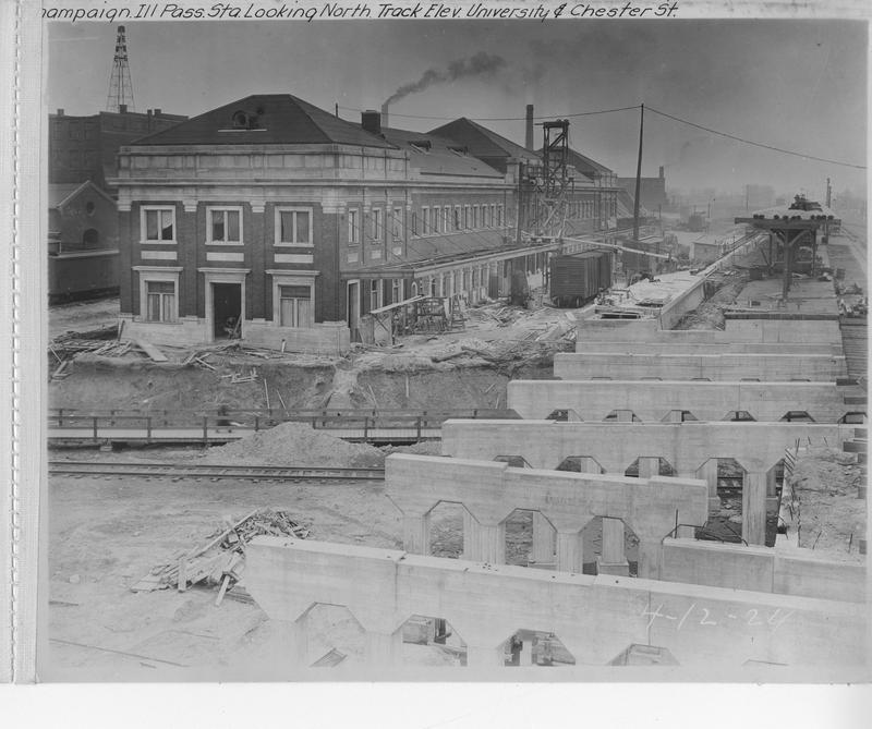 Champaign Station and View of Chester Street Bridge Under Construction April 12, 1924