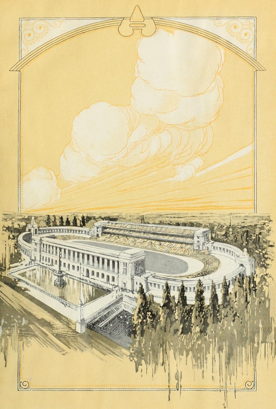 Memorial Stadium artwork from the 1923 Illio