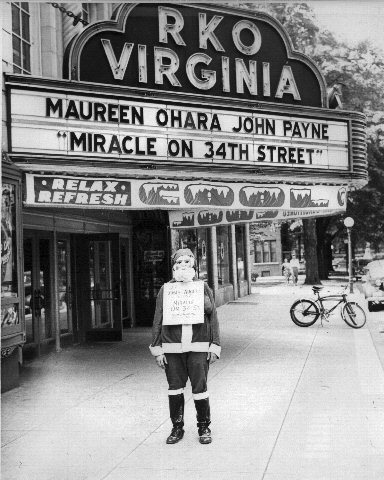 Virginia Theater Marquee displaying Miracle on 34th Street