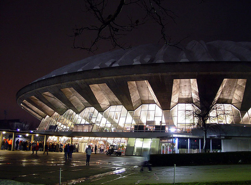 Assembly hall at night, prior to the Illinois Fighting Illini - S.E. Missouri St. game in 2005