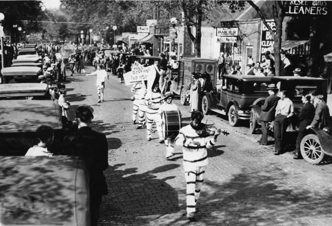 Senior Hobo Band Parade, Homecoming Weekend, ca. 1926.