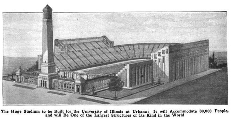 Model of the Memorial Stadium of the University of Illinois, Urbana as originally envisioned circa 1921