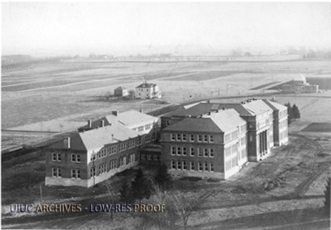 Aerial shot of Davenport Hall, 1900