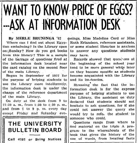 Daily Illini article on the Information Desk, from the Dec 1, 1939 issue