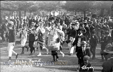 The Hobo Band parades at the Push Ball gathering., 1909