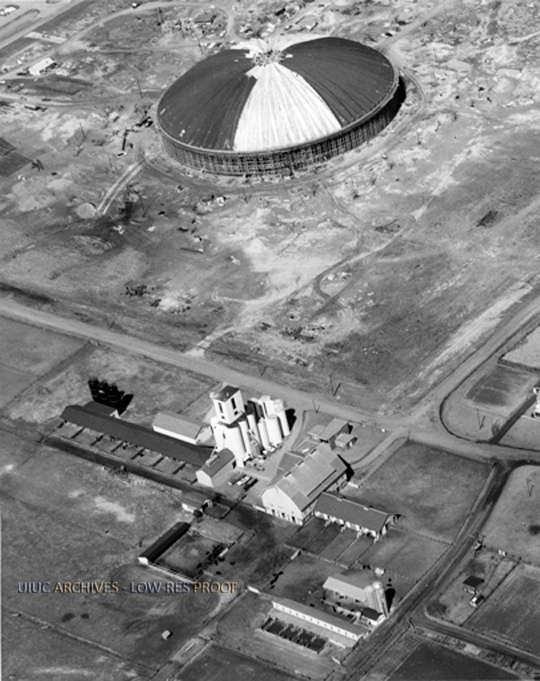 Aerial view of Assembly Hall construction, 1962
