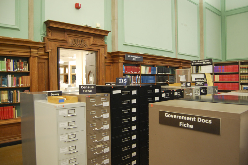 A section of the Government Documents collection held in the Reading Room