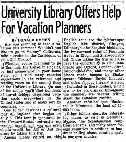 Daily Illini article on the Reference Department's Vacation Collection, July 2, 1947