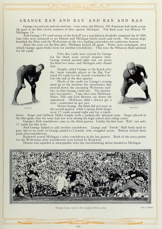 Description of the 1924 Homecoming game in the Illio