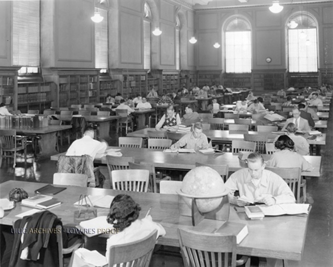 Students studying in the Reading Room, circa 1952