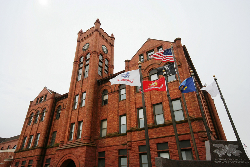 Champaign County Courthouse with flags