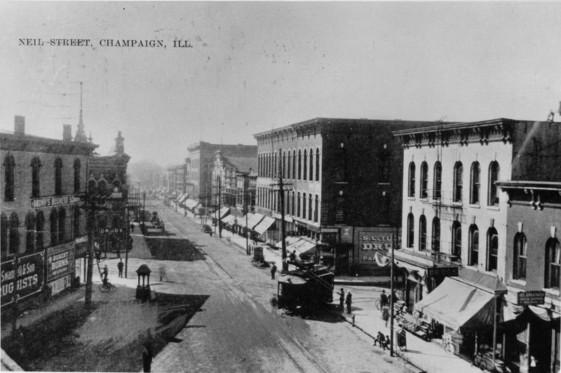 A bird's eye view of Neil Street, including the fountain