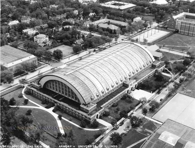 Aerial view of the Armory in 1935