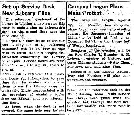 Daily Illini article on the new Information Desk, Oct 1, 1937