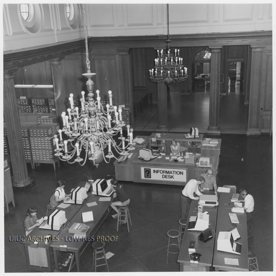 The Information Desk in the Main Library, circa 1979
