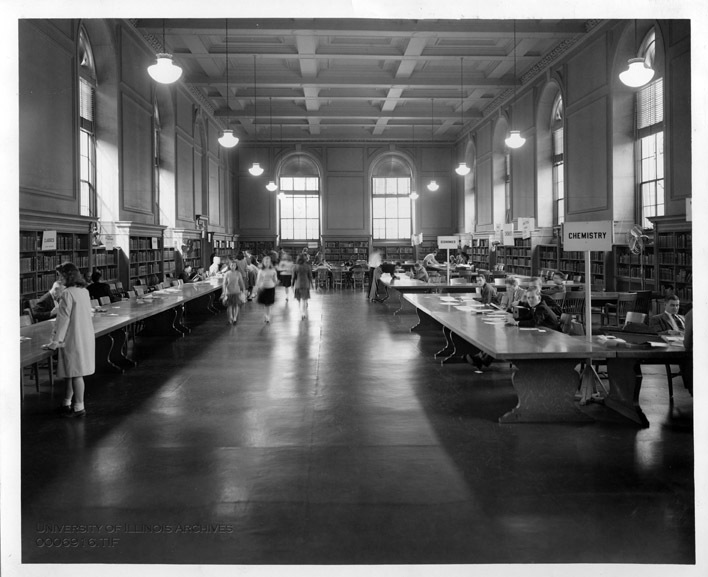 The Reference Room of the Main Library being used for student registration, October 1943
