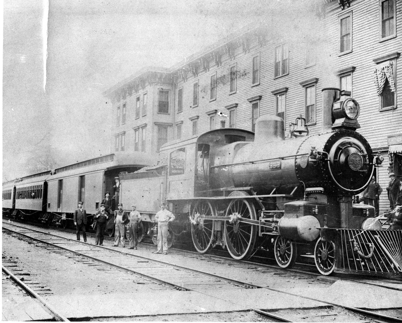 The Doane House obscured by a train
