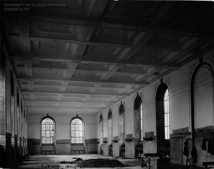 Main Library Reading Room construction, October 12, 1925