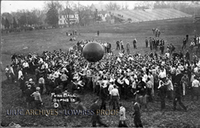 Students play push ball, 1906