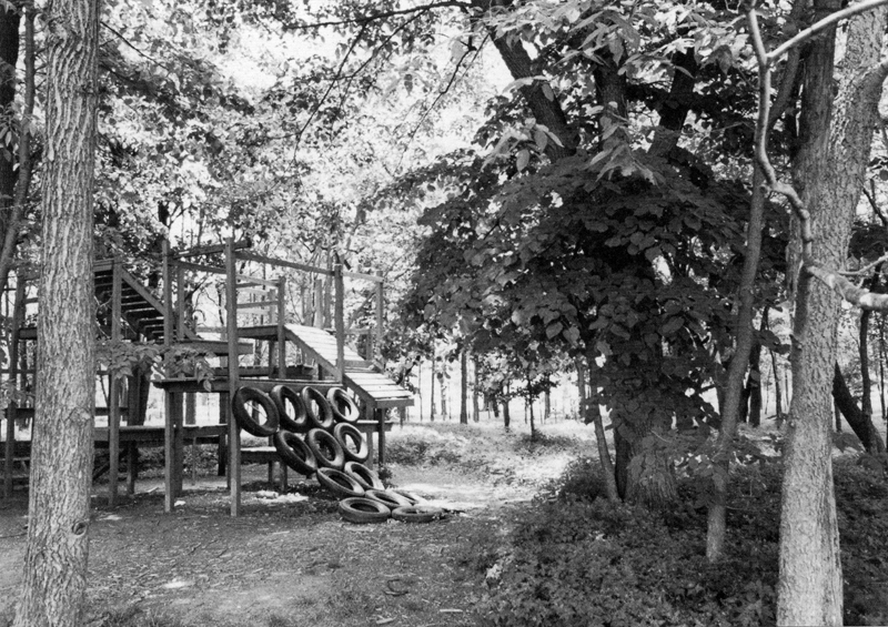 Wooden playground built in the 1970s and since removed.