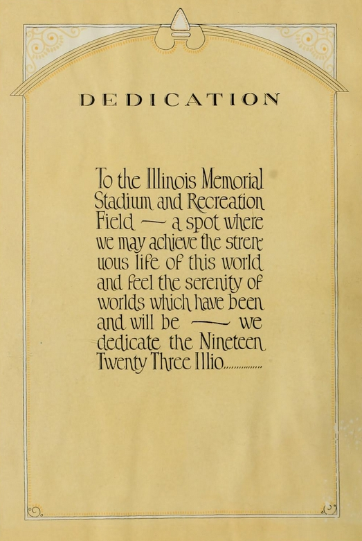 1923 Illio dedication page to Memorial Stadium