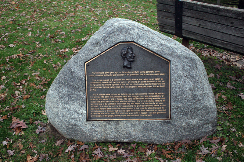 plaque with the Gettysburg Address inscribed