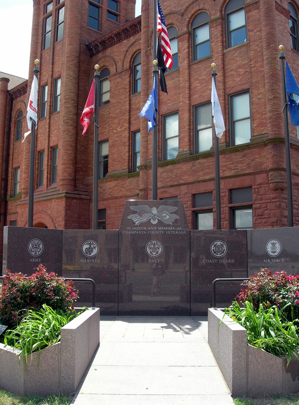 Veterans memorial outside Champaign County Courthouse