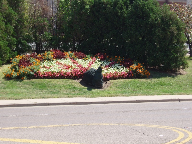 Flowerbeds and peacock statue at McCollum Park