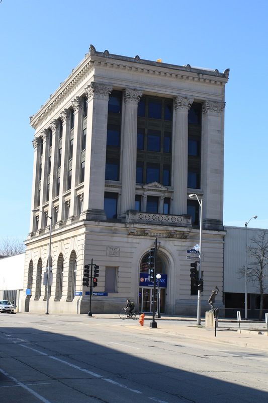 PNC Bank, 30 E. Main Street. Former National First Bank of Champaign Building