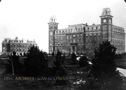 University Hall, with Harker Hall to the left, 1879