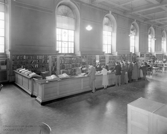 The reference desk in the Reading Room of the Main Library, March 1938.