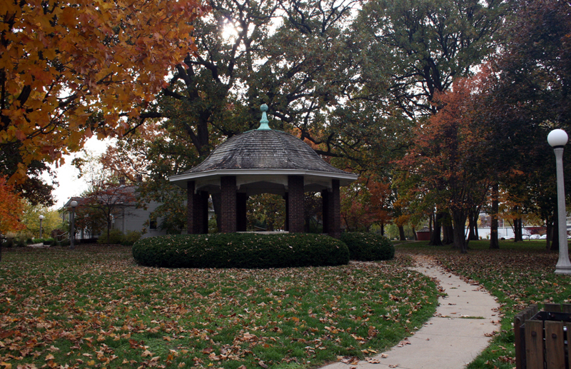 View of historic gazebo at Leal Park, former site of the Old Urbana Cemetery