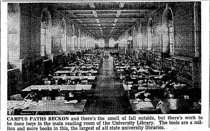 A Daily Illini photo and text of students studying in the Reference Room, Sept 19, 1946