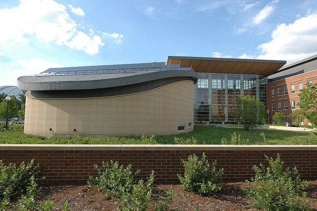 Green roof of the Business Instructional Facility's auditorium