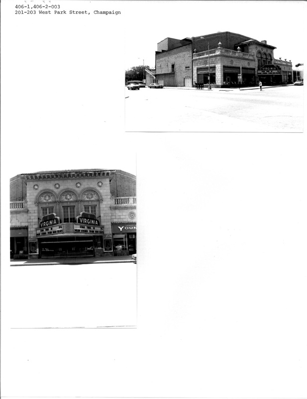 PACA Historic Property Inventory for the Virginia Theater at 201-203 West Park Avenue, Champaign