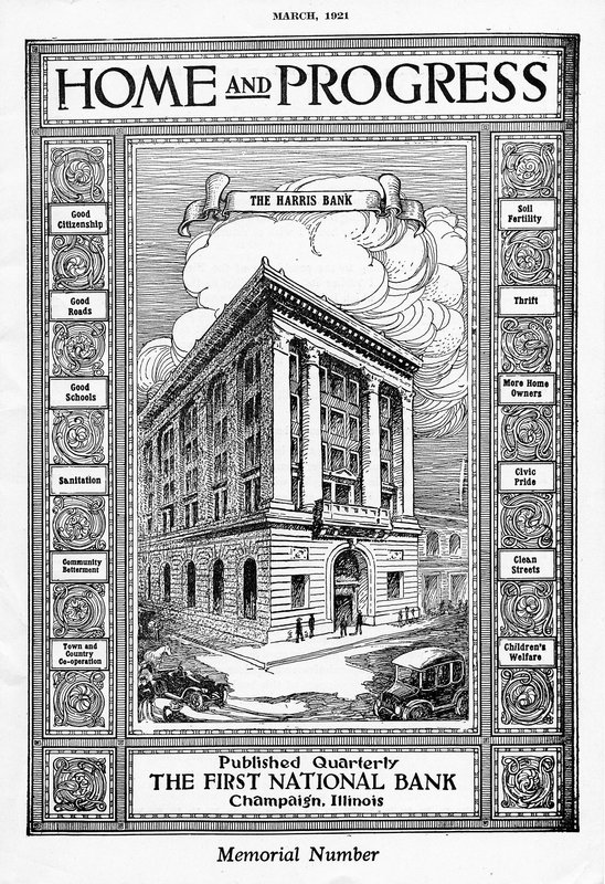 A rendering of the First National Bank of Champaign from March 1921