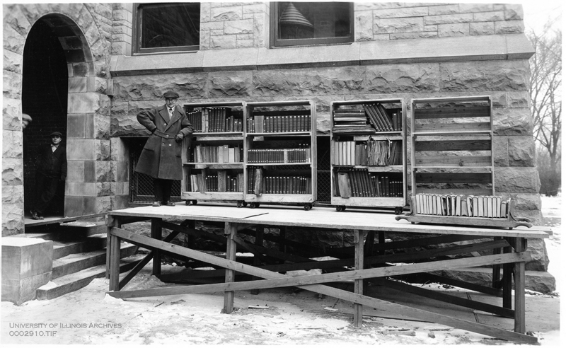 Moving Books From Altgeld Hall to the New University Library, 1927