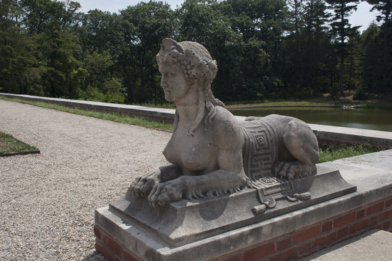 close up of Sphinx showing sashes and geometrical motifs