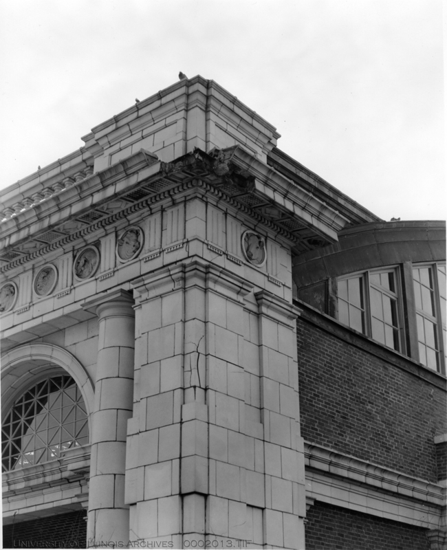 the Stock Pavilion before reconstruction, featuring animal head medallions