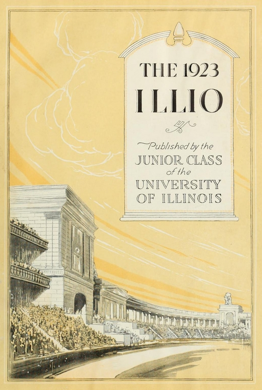 1923 Illio cover page with Memorial Stadium artwork