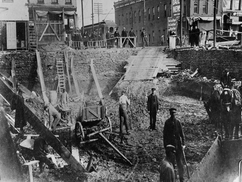 Excavation for the First National Bank of Champaign