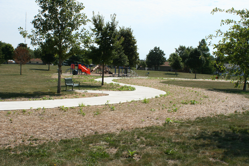 path with playground in the distance