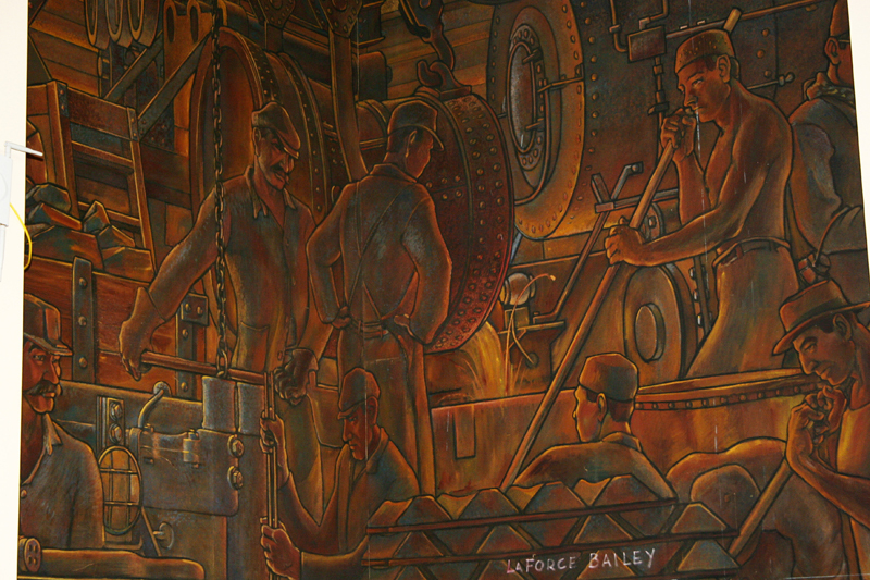 detail of the mural with LaForce Bailey's signature