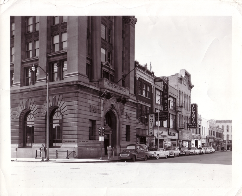 First National Bank of Champaign, south side of Main Street looking west from Market Street
