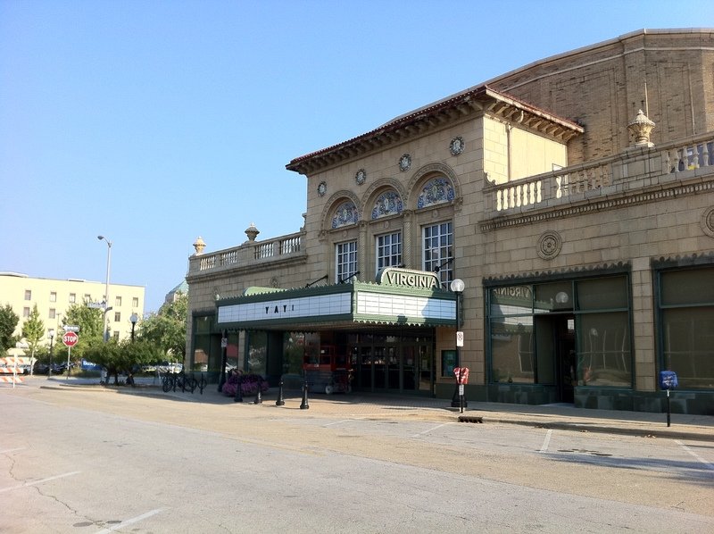 Outside of Virginia Theater with new marquee