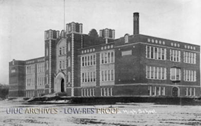 Frontside view of Urbana High School circa 1913