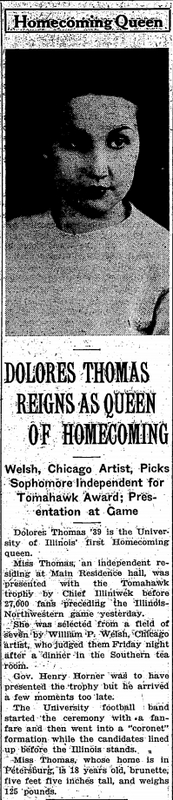 """""""Dolores Thomas Reigns as Queen of Homecoming,"""" 1936"""